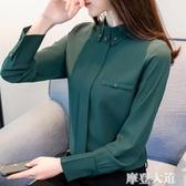 2020新款女裝春款襯衫雪紡上衣氣質洋氣小衫時尚打底衫長袖chic『摩登大道』