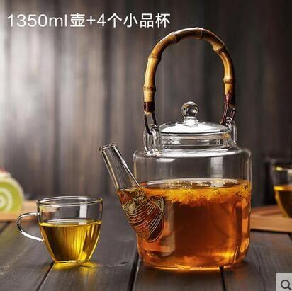 玻璃花茶壺耐熱玻璃茶具洋桶大容量帶過濾玻璃水壺泡茶壺