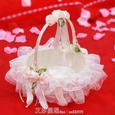 婚禮花童撒花小花籃 結婚慶裝飾用品 伴娘手提蕾絲撒花瓣花籃 艾莎嚴選