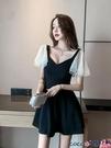熱賣露背洋裝 網紅時尚2021夏季新款性感低胸女裝露背飛飛袖技師工作服連身裙潮 coco