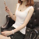 春裝新款女裝韓版夏季短款無袖冰絲打底針織吊帶衫小背心內搭外穿 【PINK Q】