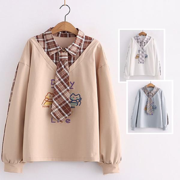 *ORead*日系學院風刺繡格子拼接袖假兩件領帶長袖衛衣(3色F碼)