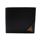 【台中米蘭站】全新品 PRADA 經典品牌logo防刮牛皮對折零錢袋短夾(2MO738-黑)