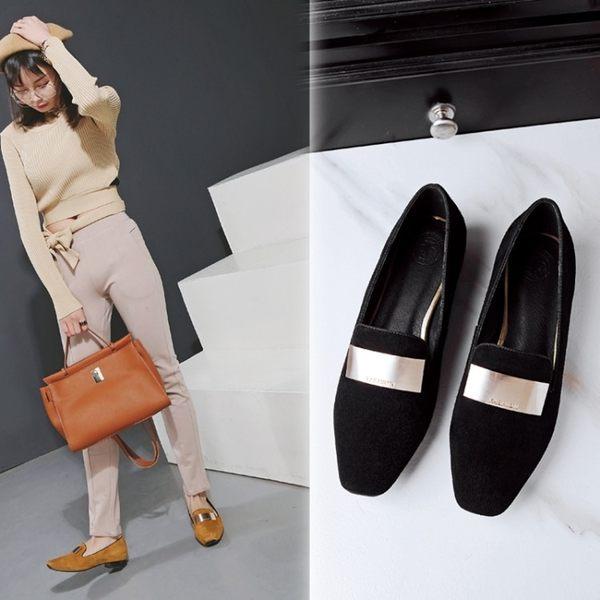 丁果時尚、絨面真皮時尚金屬片方頭低跟鞋(僅賣現貨)
