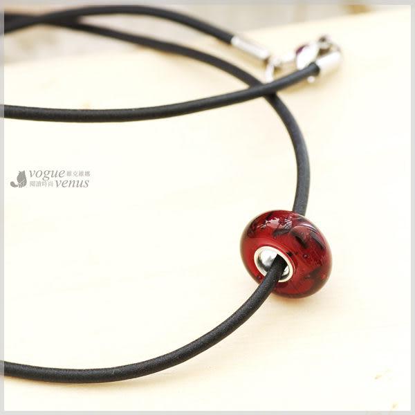 秋語呢喃 橢圓暗紅圓珠綴皮繩項鍊 925純銀項鍊 維克維娜