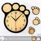 可愛創意壁貼時鐘 熊掌腳丫數字刻度造型 配色靜音掛鐘 趣味孩童牆面裝飾 森林動物-米鹿家居