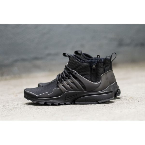 *Nike 魚骨鞋 Air Presto Mid Utility 黑 全黑 中筒 拉鍊 休閒鞋 慢跑鞋 男鞋859524-006