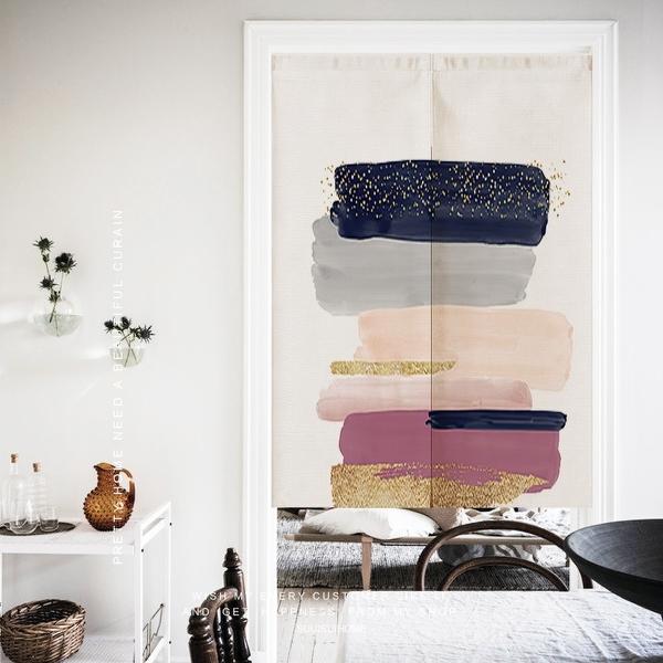 可愛時尚棉麻門簾E825 廚房半簾 咖啡簾 窗幔簾 穿杆簾 風水簾 (85cm寬*130cm高)