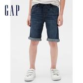 Gap男童時尚水洗鬆緊腰牛仔短褲550193-深色水洗做舊