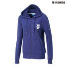 K-SWISS Shield Logo JKT刷毛連帽外套-女-藍
