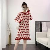 韓版減齡愛心木耳裙新年紅針織洋裝女寬鬆外穿秋冬打底毛衣裙子 poly girl