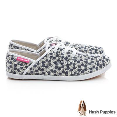 Hush Puppies 牛仔花園咖啡紗帆布鞋-深藍
