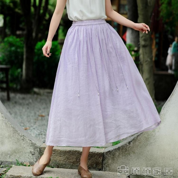 半身裙 2021夏季亞麻文藝復古半身裙女夏純色a字高腰不規則大擺中長裙子