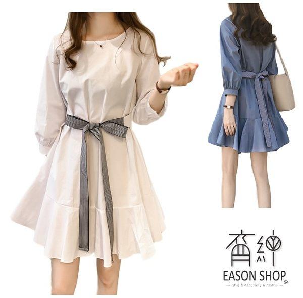 EASON SHOP(GW0031)韓版純色腰間綁帶收腰下襬魚尾裙泡泡袖七分袖連身裙洋裝女上衣服寬鬆短裙膝上裙