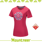 【Mountneer 山林 女 透氣排汗印花上衣《深玫紅》】31P06-36/抗UV/UPF50+/透氣/排汗衣/休閒