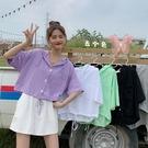 短款紫色女上衣設計感小眾夏季薄款新款時尚寬鬆抽繩短袖襯衫