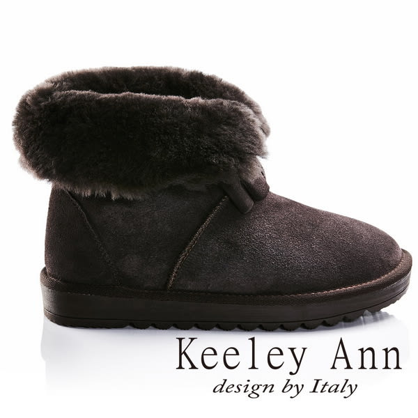 ★零碼出清★Keeley Ann異國戀冬~反折暖毛蝴蝶結造型真皮平底雪靴(咖啡色)