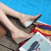 透明涼鞋女仙女風夏2019新款海邊度假厚底楔形拖鞋ins潮高中跟水晶鞋 米希美衣ATF