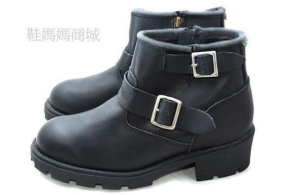 【鞋媽媽】[女]全新黑色真皮樵夫鞋*二扣帶*內側拉鍊*ae142