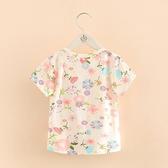 寶寶七彩花上衣夏裝新款女童童裝兒童滿印短袖T恤tx-8380