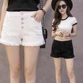 白色牛仔短褲女夏2018新款高腰排扣寬鬆學生破洞毛邊寬褲熱褲子【博雅生活館】