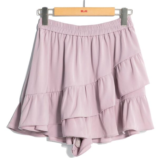 秋冬下殺↘5折[H2O]一片式波浪裙設計短褲裙 - 黑/豹紋/粉色 #9638002