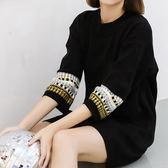 現貨-毛衣-中長款特色民族風圓領針織毛衣裙Kiwi Shop奇異果1130【SZZ8399】