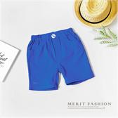 彩藍素面棉麻短褲 純色 百搭 休閒 平織 短褲 藍色 男童 夏天 鬆緊褲頭 韓版 哎北比童裝