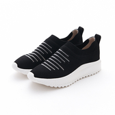 MICHELLE PARK 新華麗運動休閒風條紋彈性水鑽網面鏤空透氣平底鞋-黑色