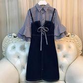 大碼女裝春裝胖妹妹時髦網紅套裝洋氣吊帶牛仔連身裙寬鬆顯瘦減齡 韓流時裳