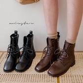 MIUSTAR 小方頭綁繩拉鏈皮革短靴(共2色,35-39)【NH2561】預購