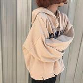 秋冬新款新款韓版原宿風女裝磨毛加厚連帽字母套頭長袖bf衛衣外套