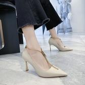 2020年新款網紅鞋子女潮百搭超火細跟拉鏈淺口高跟鞋春秋尖頭單鞋 西城故事