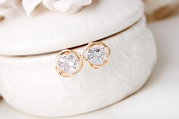 Qmigir 韓版鑽石三角形耳環【QG1877】