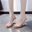 涼拖鞋果凍全透明高跟涼拖鞋女露趾方頭水晶坡跟仙女風夏季新款 快速出貨