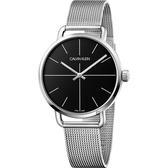 Calvin Klein CK Even 超然系列十字線米蘭帶手錶-黑x銀/42mm K7B21121