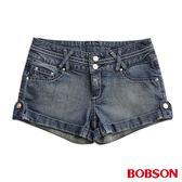 BOBSON 女款低腰高腰頭牛仔短褲(219-53)