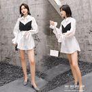 襯衫裙女chic上衣春秋中長款顯瘦長袖白色假兩件心機襯衣 可可鞋櫃