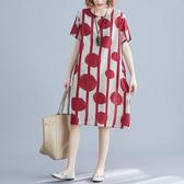 棉綢 直條紋點點印花洋裝-中大尺碼 獨具衣格 J2848