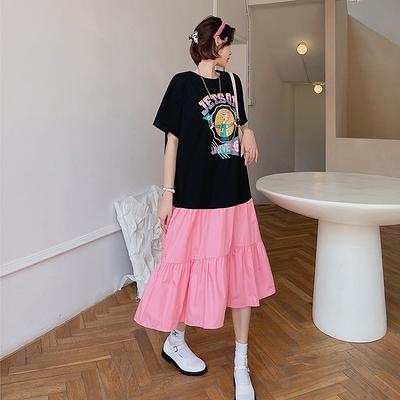 胖妹大碼洋裝連身裙~6550大碼拼接拼色蛋糕裙短袖連身裙DC109莎菲娜