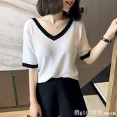 短袖針織上衣 短袖冰絲針織衫新款夏季薄款寬鬆顯瘦氣質拼色V領t恤上衣女 秋季新品