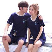 韓版夏季情侶睡衣女短袖純棉可愛夏天薄款全棉休閒男士家居服套裝     俏女孩