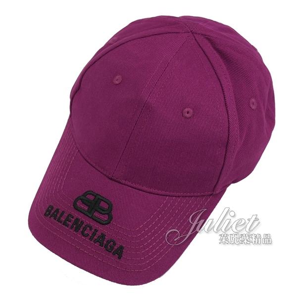 茱麗葉精品【全新現貨】BALENCIAGA 巴黎世家 577548 帽沿刺繡LOGO 棉質棒球帽.紫紅