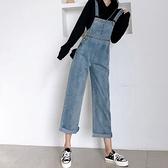 吊帶褲 春季2021年新款學生褲子寬鬆直筒背帶牛仔褲女高腰顯瘦吊帶闊腿褲 韓國時尚週