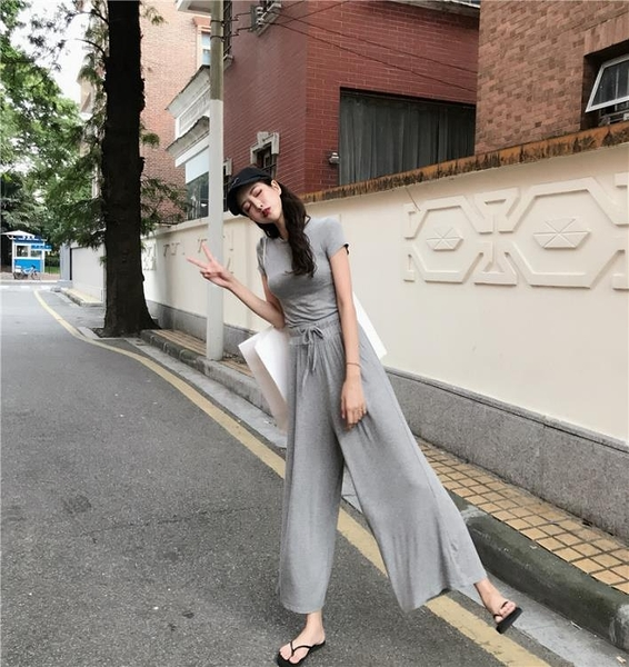 套裝 網紅套裝顯腿休閒兩件套女夏裝2020新款純色T恤 高腰闊腿拖地長褲