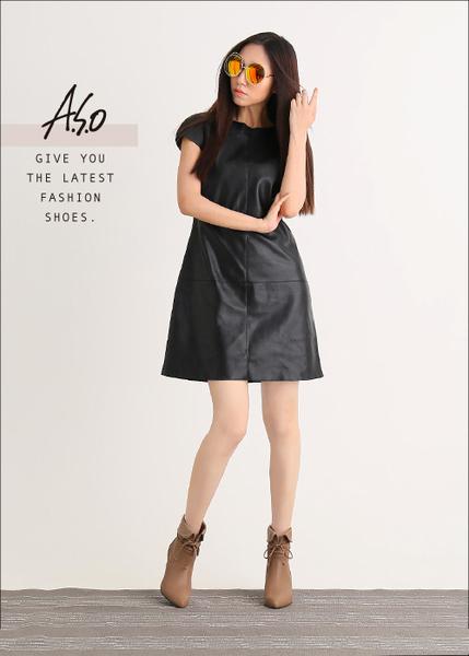 A.S.O 保暖靴  反摺直套綁帶奈米短靴  卡其