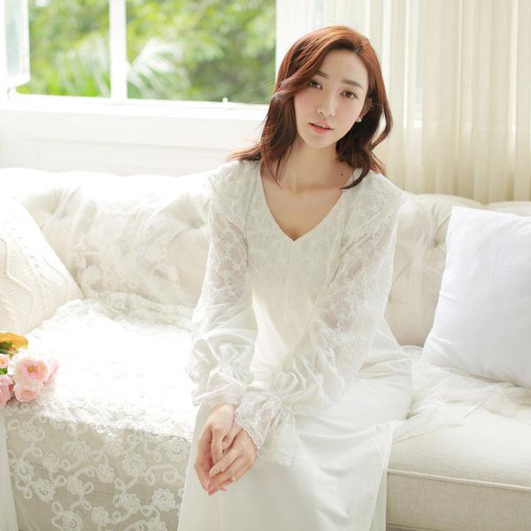 歐美女春復古宮廷睡裙長袖露肩性感女神純棉公主加長白色睡衣蕾絲-gong008