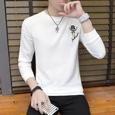 春季圓領長袖t恤男青少年學生韓版衛衣打底衫春裝潮流上衣服 優家小鋪