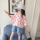 女童短袖上衣 女童短袖t恤夏季中大童洋氣時髦寬鬆笑臉上衣兒童夏裝-Ballet朵朵