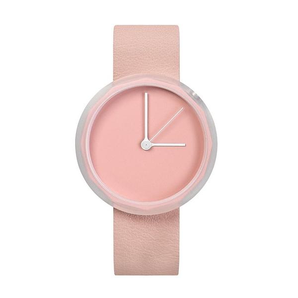 AÃRK 淡粉極簡主義真皮革腕錶-粉38mm